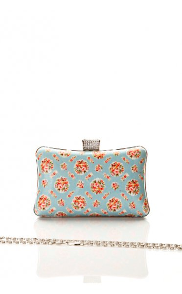 Small Roses Vintage Print Box Clutch In Blue