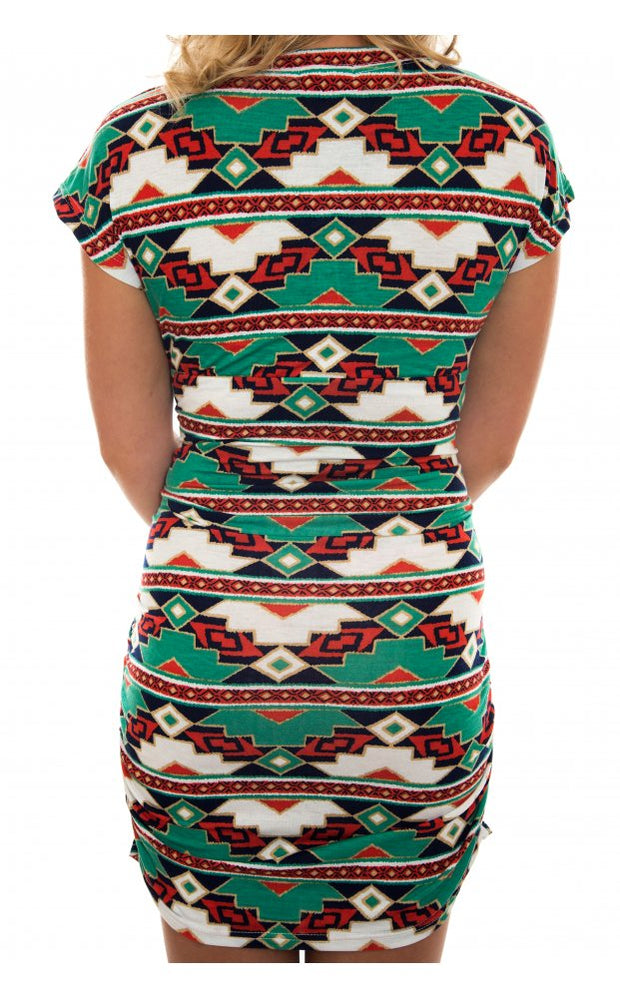 Electric Tropic Mini Dress In Green
