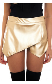 Gold Metallic Leather Skort