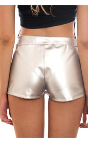 Silver Metallic Leather Skort