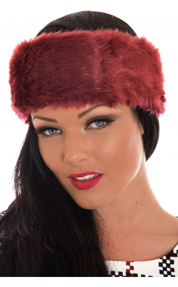 Burgundy Faux Fur Hatband