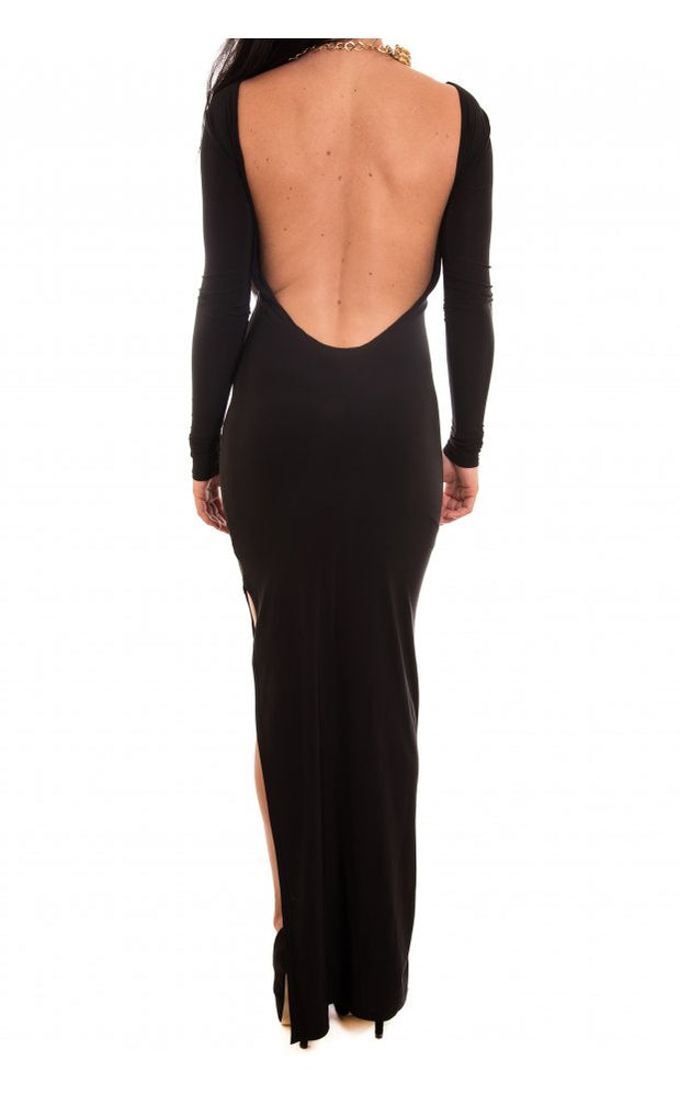 Josey High Split Black Maxi Dress