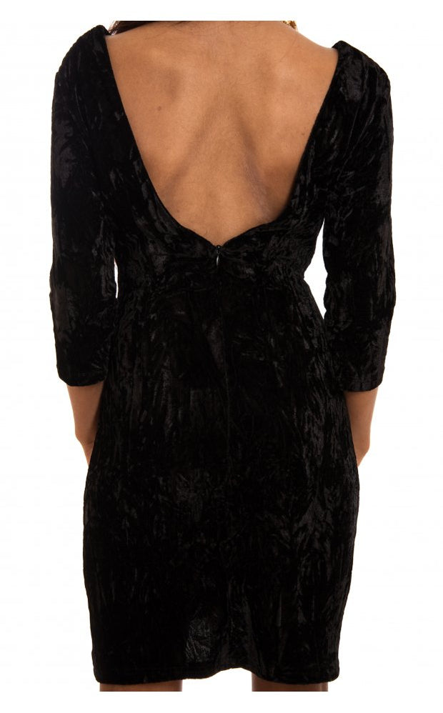 Velvet Crush Black Bodycon Dress