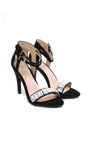 Alcen Suede High Heeled Jewelled Sandals In Black