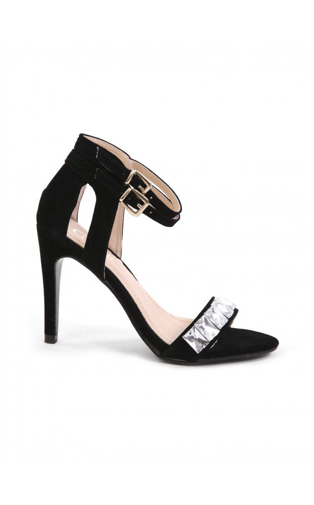 b2dd22a055734 Alcen Suede High Heeled Jewelled Sandals In Black