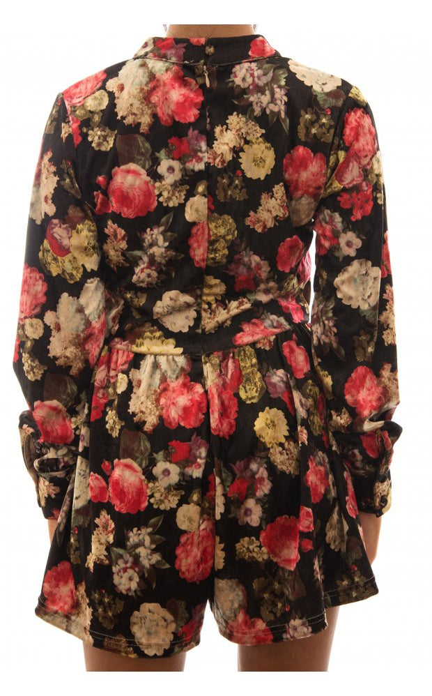Autumn Breeze Velvet Floral Playsuit In Red