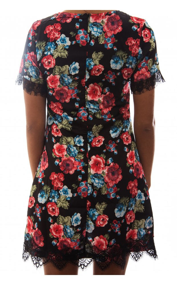 Elsa Blue Floral & Lace Shift Dress