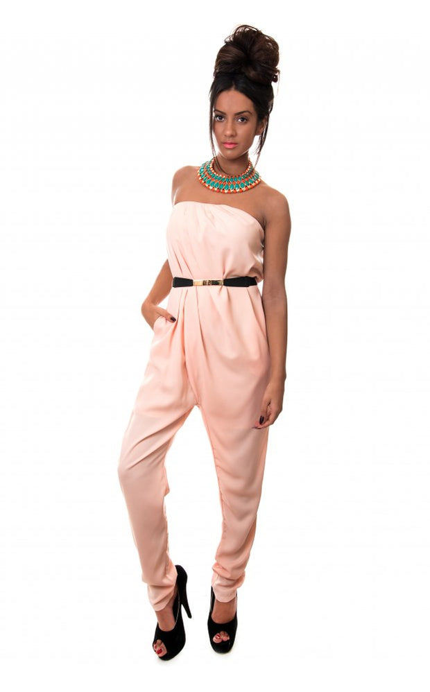 Bonita Peach Strapless Jumpsuit