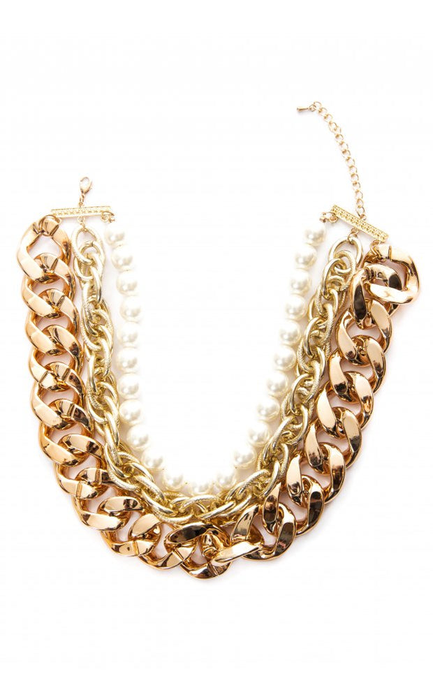 Gilded Layers Chunky Pearl Necklace
