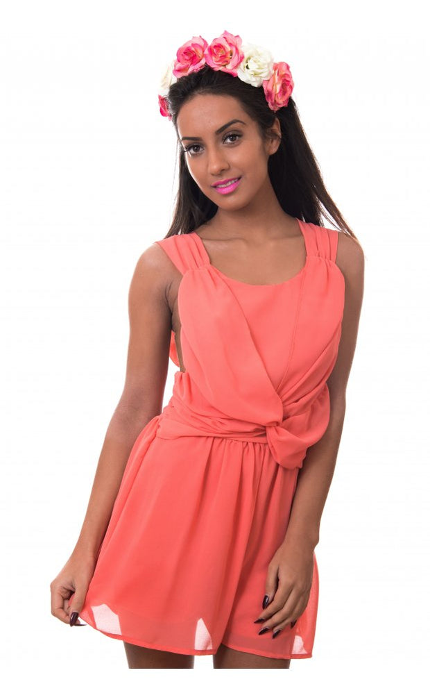 Slow It Down Chiffon Playsuit In Peach