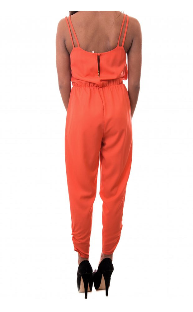 Spell Binder Cross Front Strappy Jumpsuit In Orange