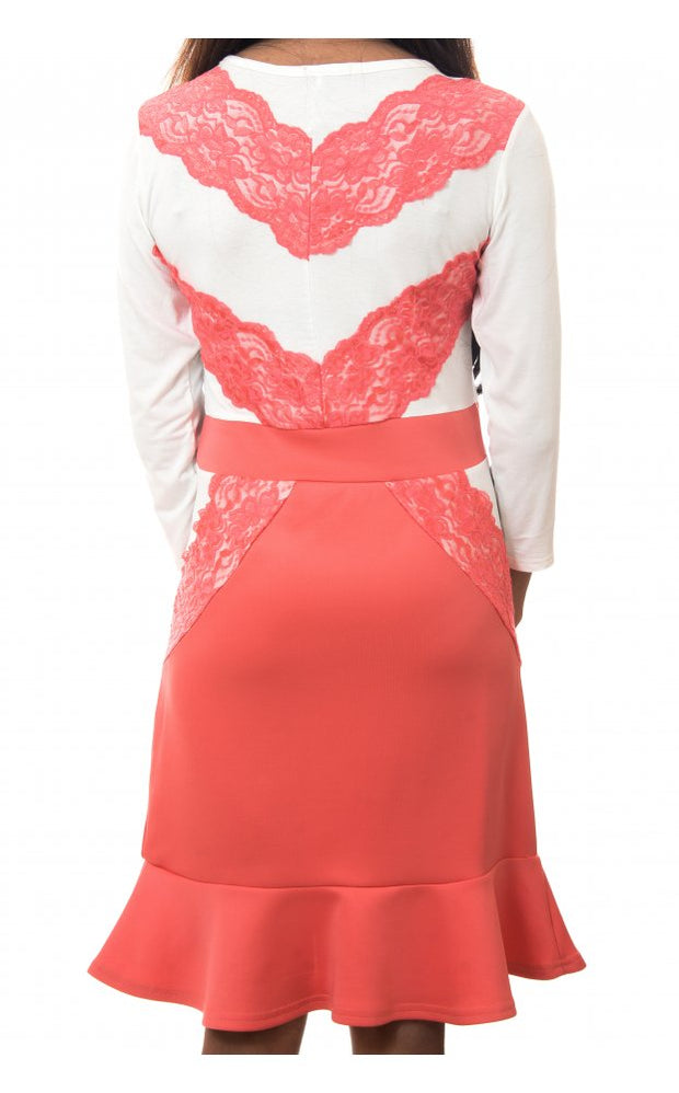 Sweetheart Eyelash Lace Dress In Coral
