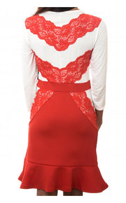 Sweetheart Red Eyelash Lace Dress