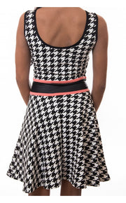 Jess Dogtooth Mesh Bodycon Dress