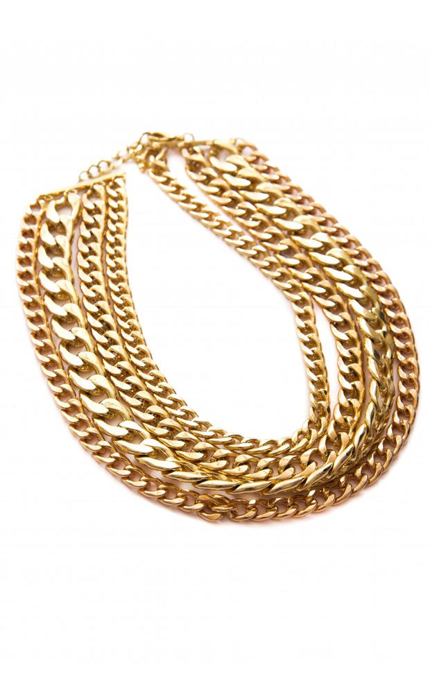 Cannes Multi Layer Gold Necklace