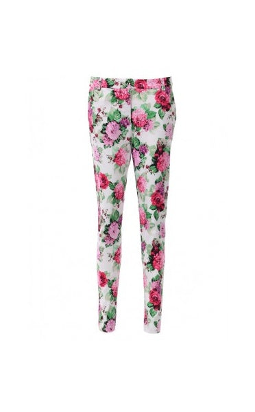 Betsy Celeb Style Floral Print Tailored Trousers In Pink