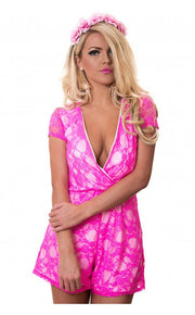 Neon Pink Lace Playsuit