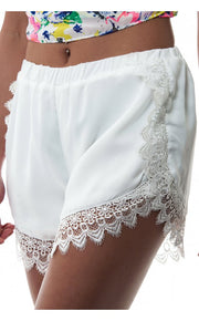 Limited Edition White Lace Eyelash Shorts