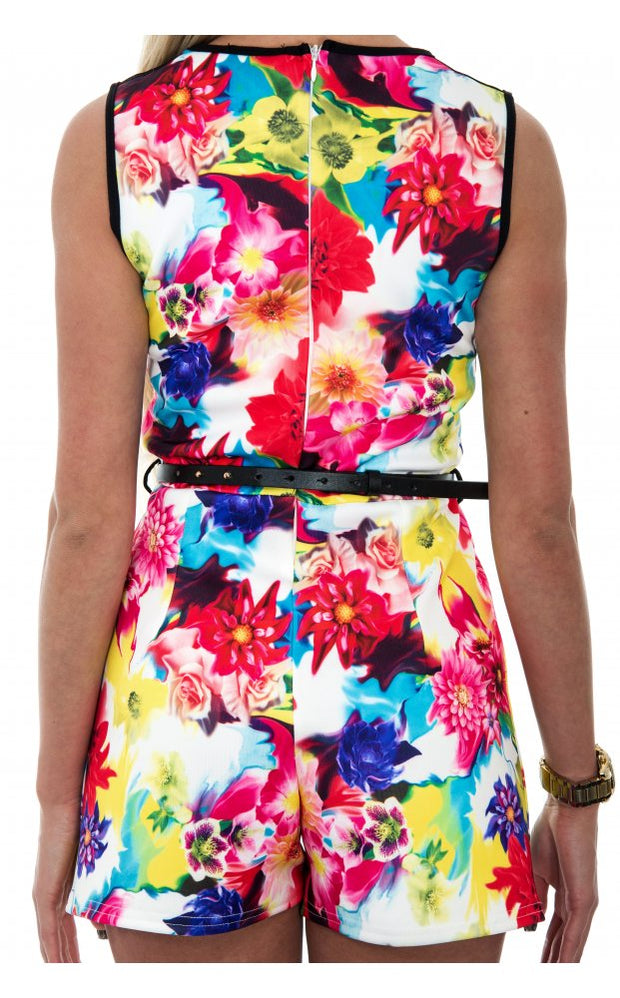 Dreamy Mesh Front Celeb Style Floral Playsuit