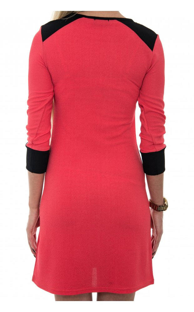 LUXE Sequin Shoulder Shift Dress In Coral