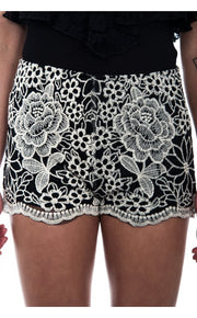 Black Daisy Print Lace Shorts