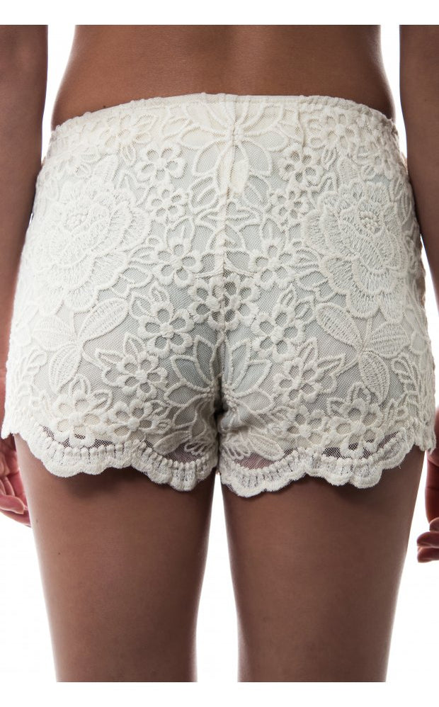 Cream Daisy Print Lace Shorts