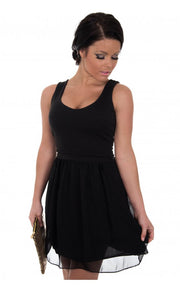 Suri Chiffon Cut Out Heart Back Skater Dress In Black
