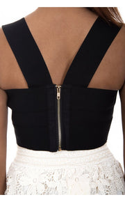 Black Sweet Heart Neckline Bandage Bodycon Bralet Top