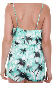 Palm Print Frill Playsuit In Green