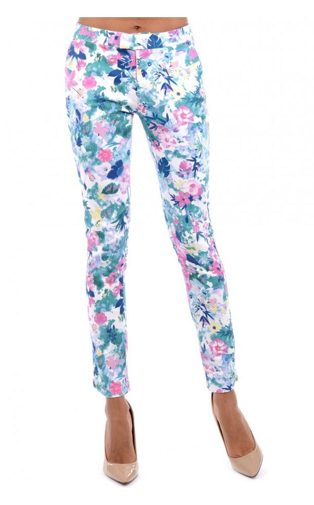 Floral Skinny Ankle Grazer Jeans In Blue