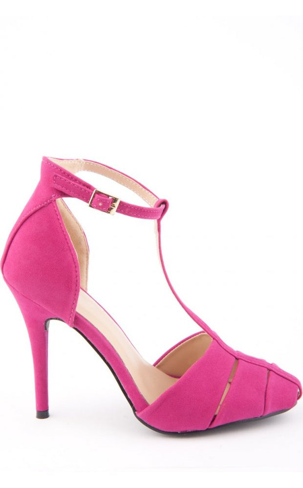 Suede T Bar Heels In Pink