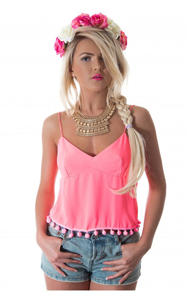 Siesta Pom Camisole Top In Pink