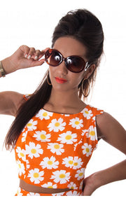 Daisy Duty Chiffon Crop Top In Orange