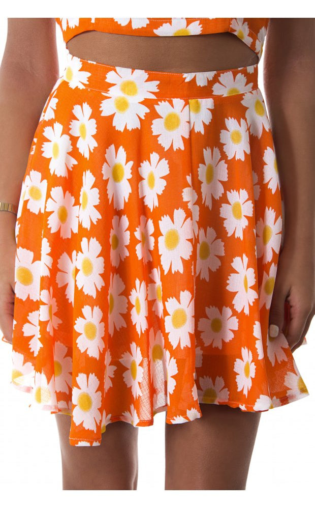 Daisy Duty Chiffon Skater Skirt In Orange