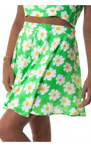 Daisy Duty Chiffon Skater Skirt In Green