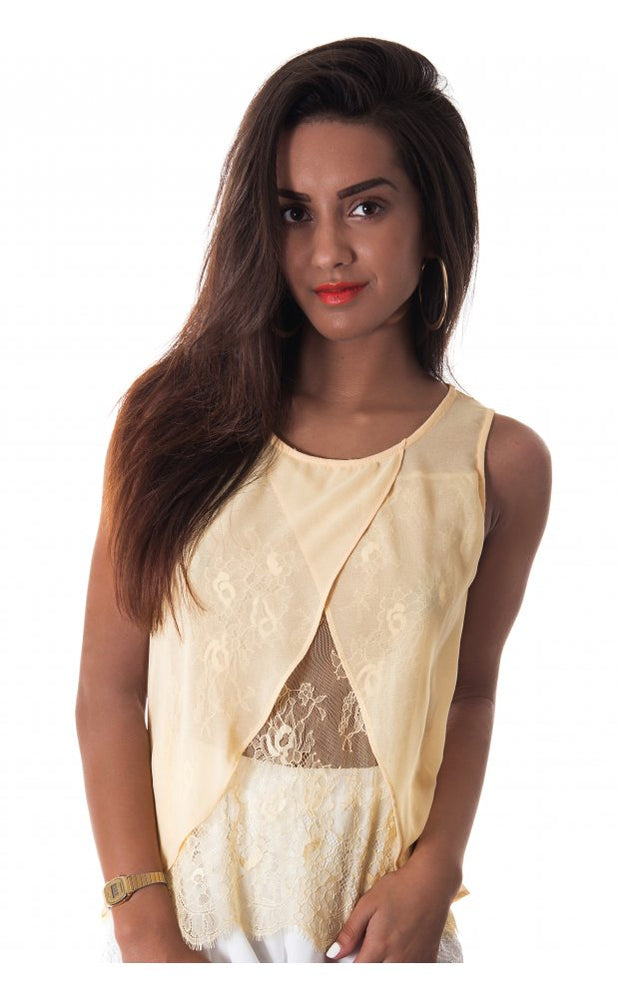 Sugar Lace Trim Vest Top In Lemon