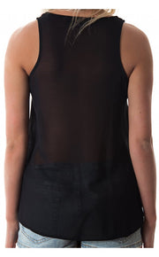 Marena Aztec Beaded Chiffon Vest Top In Black