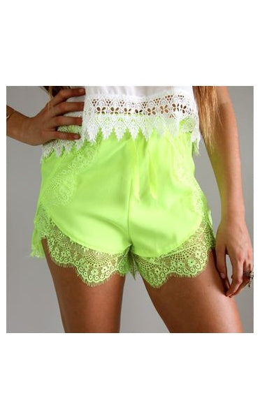 Lime Green Lace Trim Shorts