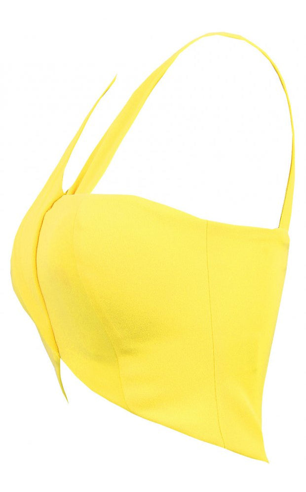 Yellow Pleated Bralet Top