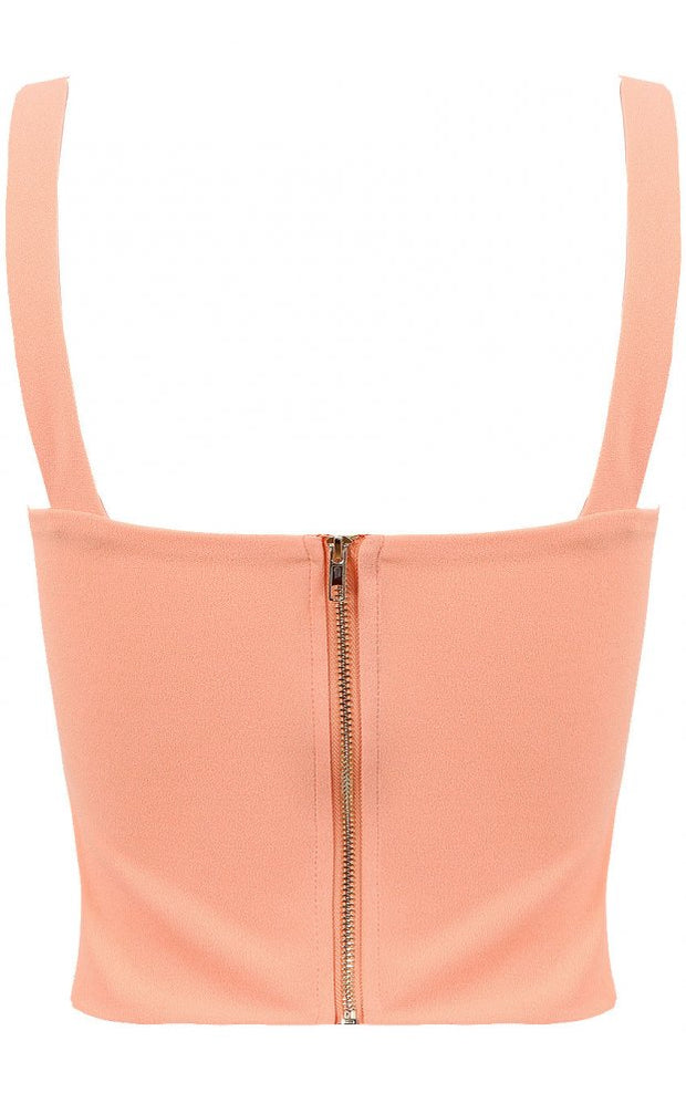 Peach Pleated Bralet Top