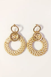 Natural Circle Raffia & Gold Statement Earrings