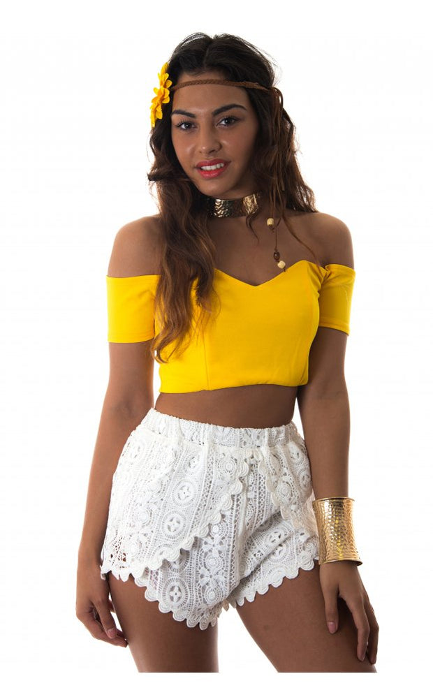 Bardot Bralet Top In Yellow