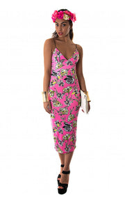 Maisy Pink Floral Bodycon Midi Dress