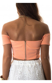 Peach Bardot Bralet Top