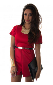 Renegade Gold Belted Playsuit In Red