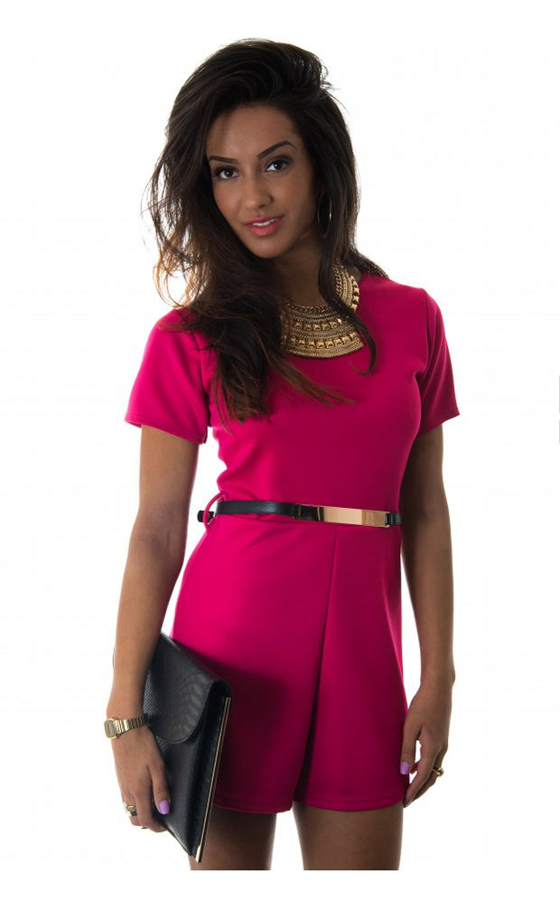 Renegade Gold Belted Playsuit In Cerise