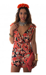 Aleshia Floral Orange Playsuit