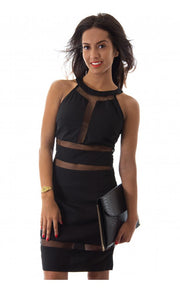 LUXE Mesh Panel Bodycon Dress In Black