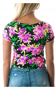 Black Daisy Print Crop Top