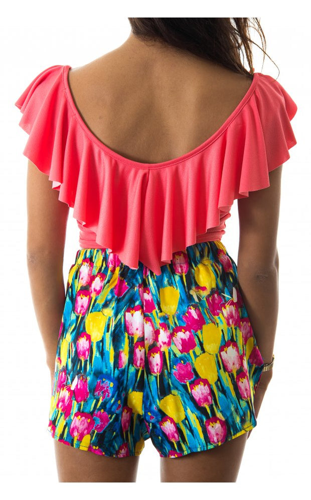 Keep Your Cool Coral Frill Crop Top